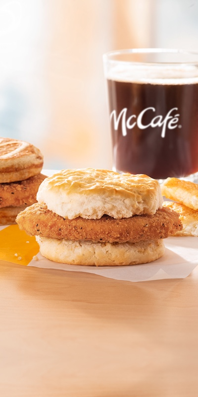 McDonald's chicken for breakfast sandwich on a biscuit with a coffee