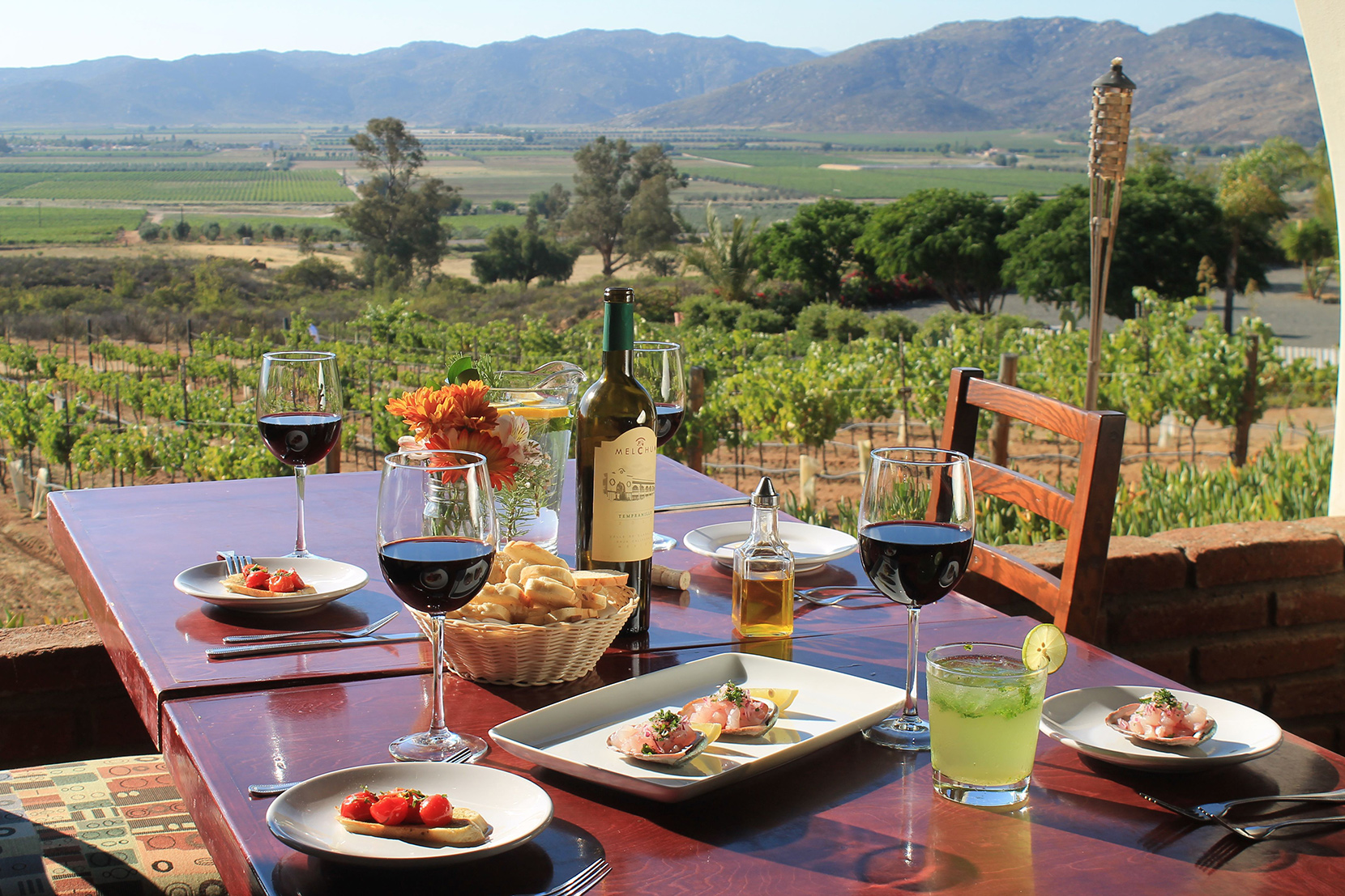 A lunch scene overlooking a winery in Hacienda Guadalupe, Baja Mexico, Mexico